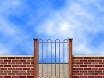 Brick wall. New brick wall with sky in background royalty free illustration