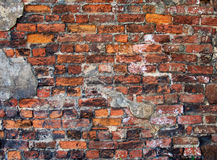 The brick wall. The part of the ruined walls of a medieval monastery Royalty Free Stock Images
