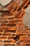 Brick Wall. Old brick wall. Destroyed building stock photography