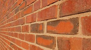 Brick wall. Close-up of a brick wall shot with wide-angle lense royalty free stock photo