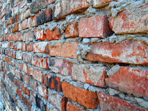 Brick wall. Old red brick wall, perspective view Royalty Free Stock Photography