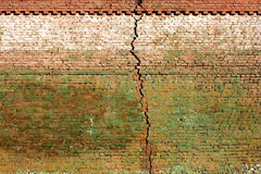 Brick wall. Old brick wall, close up, with big crack, weathered Royalty Free Stock Photo