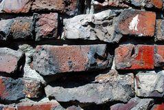 Brick Wall. Deatail of a rough brick wall Stock Image
