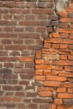 Brick wall. Red old brick wall texture patched royalty free stock photography
