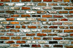 Brick Wall. Historical brick wall background with brown red white and orange Royalty Free Stock Photos