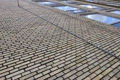 Brick wall. A brick wall facade of a building stock image
