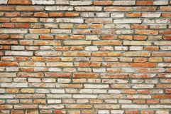 Brick wall. Faded old antique brick wall as background Royalty Free Stock Image