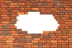 Brick wall. With gap revealing copy space Stock Photo