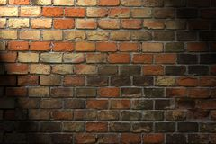 Brick wall. Red brick wall with light and shadows Stock Photos