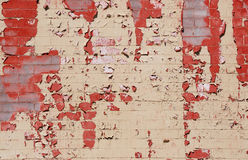 Brick Wall. Painted brick wall with some of the paint peeling off Royalty Free Stock Image