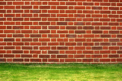 Brick Wall. A red brick wall with a grass border stock photos