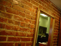 Brick wall. With a mirror Royalty Free Stock Image