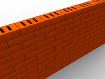Brick wall. 3d illustration of brick wall over white background Royalty Free Stock Image