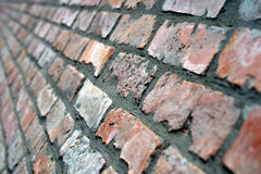 Brick wall. Old brick wall, mortar with bandage Royalty Free Stock Photography