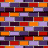 Brick wall abstract background. Seamless pattern in Halloween traditional colors with geometric ornament. Bricks motif. Brick wall abstract background. Seamless Stock Image