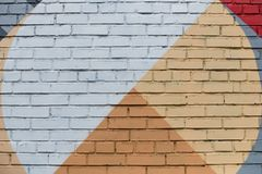 Brick wall with an abstract geometric pattern royalty free stock images
