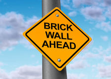 Brick wall ahead road street sign obstacle danger. Brick wall ahead road street sign with sky background Royalty Free Stock Photo