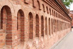 The brick wall of the artillery museum. Royalty Free Stock Images