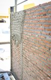Brick wall backdrop prepare for plastering Royalty Free Stock Photography