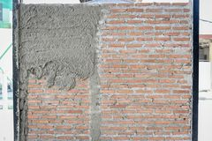 Brick wall backdrop prepare for plastering Royalty Free Stock Photo
