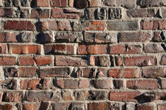 Brick Wall Background. Sunlit colorful brick wall background royalty free stock images