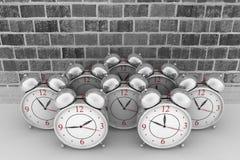 Brick wall background and alarm clock. 3d brick wall background with alarm clocks Stock Image