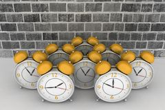 Brick wall background with alarm clocks. 3d brick wall background with alarm clocks Royalty Free Stock Photography
