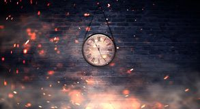New Year`s Hours. Round wooden clock on the old brick wall, bokeh effect, celebratory, magic light, New Year, Christmas. Brick wall background, antique clock royalty free stock images