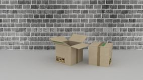 Brick wall background with cardboard boxes Royalty Free Stock Photos