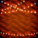 Brick wall background with colorful Christmas lights. Colorful Christmas light on brick wall background, holiday decorations, illustration stock illustration