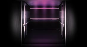 Brick wall background, empty open elevator door, neon light, smoke, night club view. royalty free stock photos