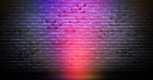 Brick wall background, neon light. Brick wall, neon light, dark wall background, rays of light stock illustration