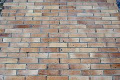 Brick-wall background. Ocher colored wall bricks. Light brown bricked wall texture. Closeup of bricked sand wall Stock Images