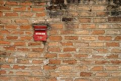 Brick wall background post office sri lanka old stock photo