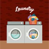 Brick wall background of set wash machine laundry an pile dirty clothes in plastic basin royalty free illustration