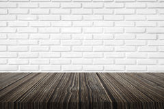 Brick wall background with wood floor Stock Images
