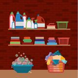 Brick wall background of wooden shelves and elements of cleaning items laundry. Vector illustration Stock Images