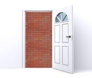 Brick wall behind the open door Stock Image