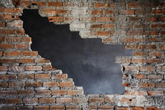 Brick Wall with Big Hole Gab Royalty Free Stock Photo