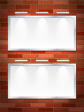 Brick wall and billboards Stock Image