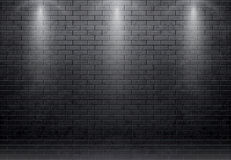 Brick wall black background with spot light 10 eps Stock Image