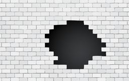 Brick wall with black hole. Modern style stock illustration