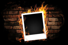 Brick wall with black paint. Stock Photo
