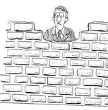 Brick Wall. Black and white illustration of a disappointed man blocked by a brick wall Royalty Free Stock Photography