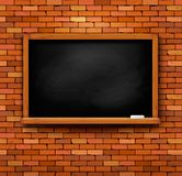 Brick wall with a blackboard Royaltyfri Fotografi
