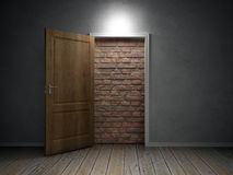 Brick wall blocking the doorway Stock Photo