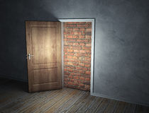 Brick wall blocking the doorway. A brick wall blocking the doorway Royalty Free Stock Photo