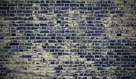 Brick wall blue grunge texture retro with copy space. Royalty Free Stock Image