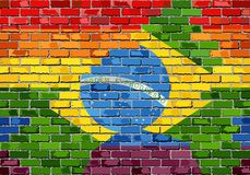 Brick Wall Brazil and Gay flags Stock Photography