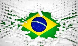 Brick wall and brazilian flag. Brick 3d wall and brazilian flag Royalty Free Stock Photography